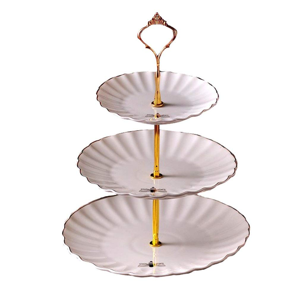 Cake Stand 3 Tier Ceramic Cake Stand Emboss Bee Pattern Wedding Fruit Plate Ceramics Cupcake For Cakes Desserts Fruits Candy Buffet Stand For Wedding & Home Elegant Cake Stand
