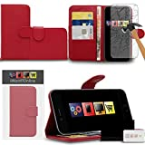 "IWIO Apple iPhone 6 Plus 5.5 inch (5.5"") 2014 Red PU Leather Executive Multi-Function Wallet Case Cover Organiser Flip with Credit / Business Card Money Holder Integrated Horizontal Viewing Stand Includes Tempered Glass Protective LCD Screen Protector"
