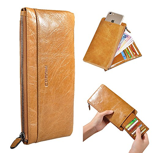 CORNMI Handmade Dip Dye Leather Long Card Organizer Wallet with Removable Card Holder ,Universal Leather Case for iPhone ,Samsung (Khaki)