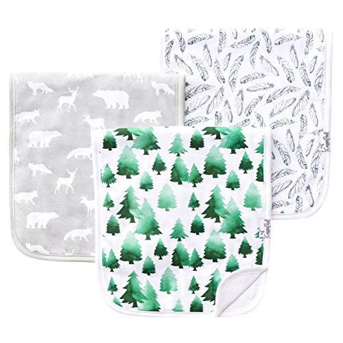 Baby Burp Cloth Large 21x10 Size Premium Absorbent Triple Layer 3 Pack Gift Set For Boys Woodland Set by Copper Pearl