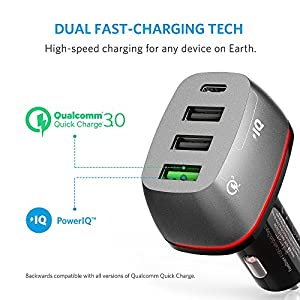 Anker Quick Charge 3.0 & USB Type-C 54W 4-Port USB Car Charger, PowerDrive+ 4 for Galaxy S7/S6/Edge/Plus, Note 5/4 and PowerIQ for iPhone 7/6s/Plus, iPad Pro/Air 2/mini, LG, Nexus, HTC and More