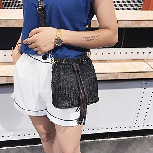 Women's Tassel Crossbody Buckets Woven Black Bags Straw Shoulder Bag Casual Shybuy Handbag qI7zd7w