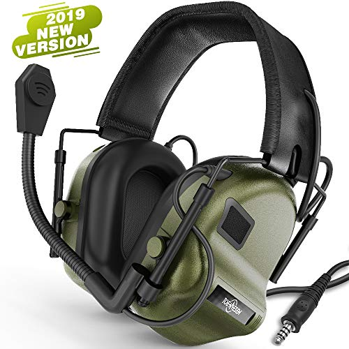 TOENNESEN Tactical Headset Electronic Earmuff with Microphone - Sound Amplification Electronic Ear Protection Noise Canceling Shooting Headphones(ArmyGreen)