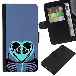 All Phone Most Case / Oferta Especial Cáscara Funda de cuero Monedero Cubierta de proteccion Caso / Wallet Case for Sony Xperia Z2 D6502 // Heart Love Skeleton Blue Purple Skull