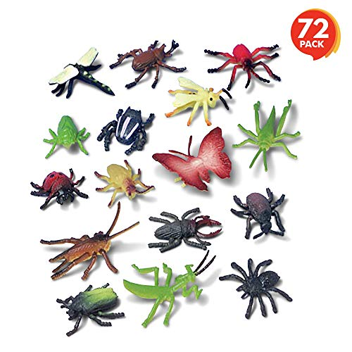ArtCreativity Insect Figurines Toys Set - 72 Pack - Assorted Plastic Bug Animal Figures for Kids - Fun Learning Aid, Birthday Party Favors, Cake Toppers, Prank Gag Toys, Goody Bag Fillers, Gift Idea