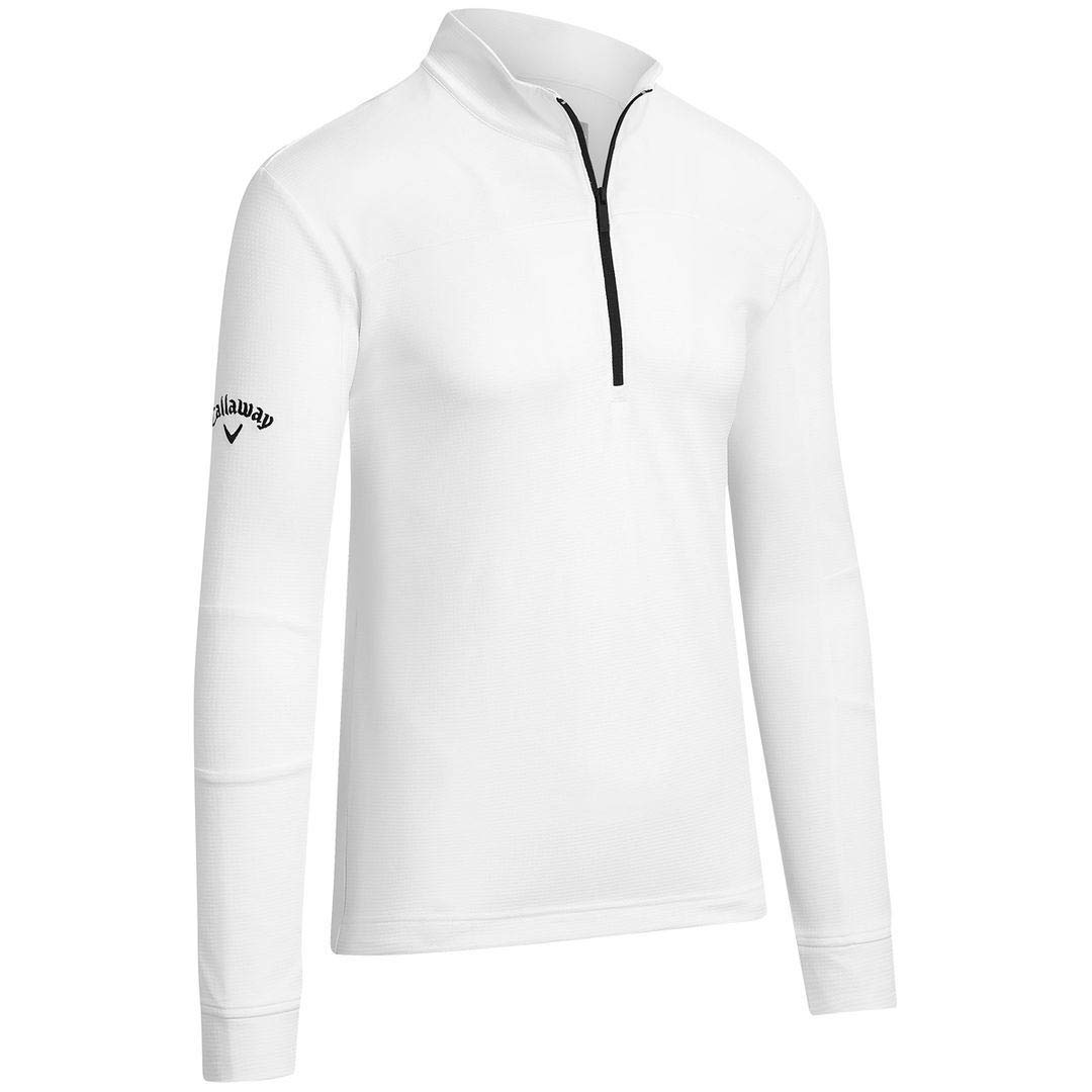 Callaway Golf 2019 Mens Pieced Waffle 1/4 Zip Thermal Pullover Sweater Bright White Large by Callaway
