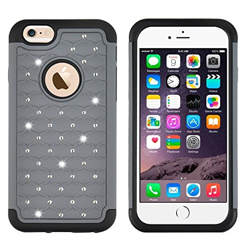 Phone Taschen & Schalen Starry Pattern Silikon + Kunststoff Kombinationsetui für iPhone 6 Plus & 6S Plus ( Color : Grey )