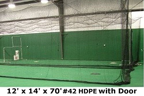 Batting Cage Net 12' H x 14' W x 70' L #42 HDPE (60PLY) with Door Heavy Duty (70' Batting Cage Frame)