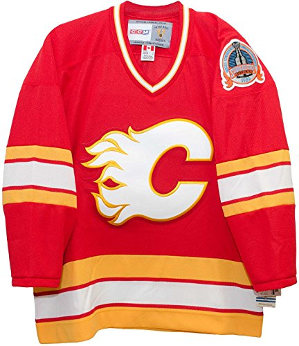 Calgary Flames 1989 Red Vintage CCM Jersey with Stanley Cup Patch (XL) Calgary Flames Hockey Jersey