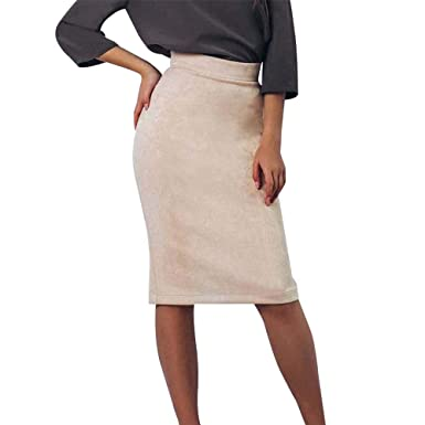 beautyjourney Falda de lápiz Slim Fit para Mujer Falda de Negocios ...