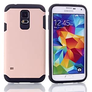 MagicSky PC + TPU Hybrid Impact Armored Hard Case for Samsung Galaxy S5 SV - 1 Pack - Retail Packaging - Black/Champagne Gold