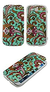 TPU Flip Soft Rubber Blue Paisley Samsung Galaxy S 3 III i9300 Sprint,Verizon, at&t Case Cover Hard Phone Case Snap-on Cover Rubberized Touch Faceplates