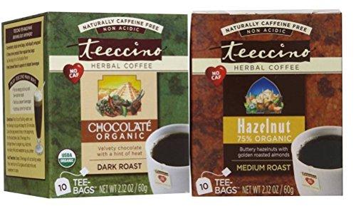 Teeccino Caffeine Free Organic Herbal Coffee 2 Flavor Variety Bundle: (1) Teeccino Hazelnut Medium Roast Organic Caffeine Free Herbal Coffee (10 count), and (1) Teeccino Chocolate Organic Caffeine Free Herbal Coffee (10 Count)