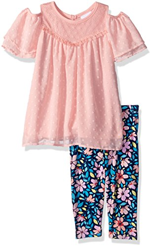 Nannette Girls' Little 2 Piece Swiss dot Chiffon Capri Set, Peach, 6 ()