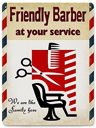 (Barber Shop sign METAL UV PLUS Antique Style wall decor Hair Stylist plaque 009)