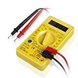 Flexzion Digital Multimeter Voltmeter Ammeter Ohmmeter Multi Tester Handheld Tool with LCD Display and Test Leads for Household Automotive Electrical Components in Yellow