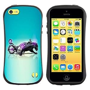 Suave TPU GEL Carcasa Funda Silicona Blando Estuche Caso de protección (para) Apple Iphone 5C / CECELL Phone case / / Black Panther Hybrid Motorcycle /