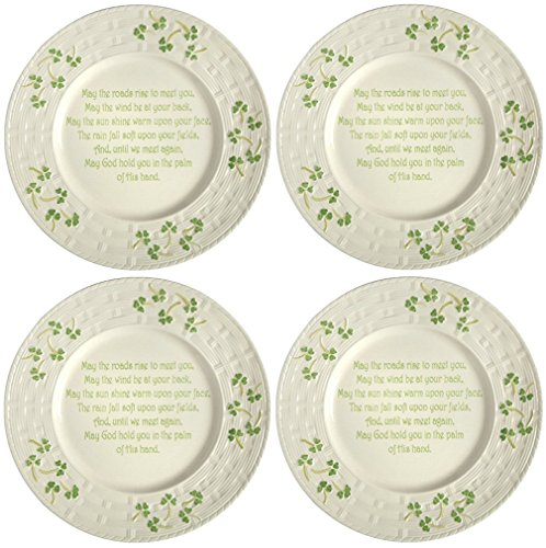 Celtic Classics Irish Blessing Traditional Basket Weave Shamrocks Design Irish Blessing Dinner Plate / Charger Plate, 12-inch Diameter (Set of 4 Plates, Ivory & Green)