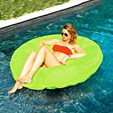 "55"" Vibrant Lime Green SunSoft Island Circular Inflatable Swimming Pool Float"