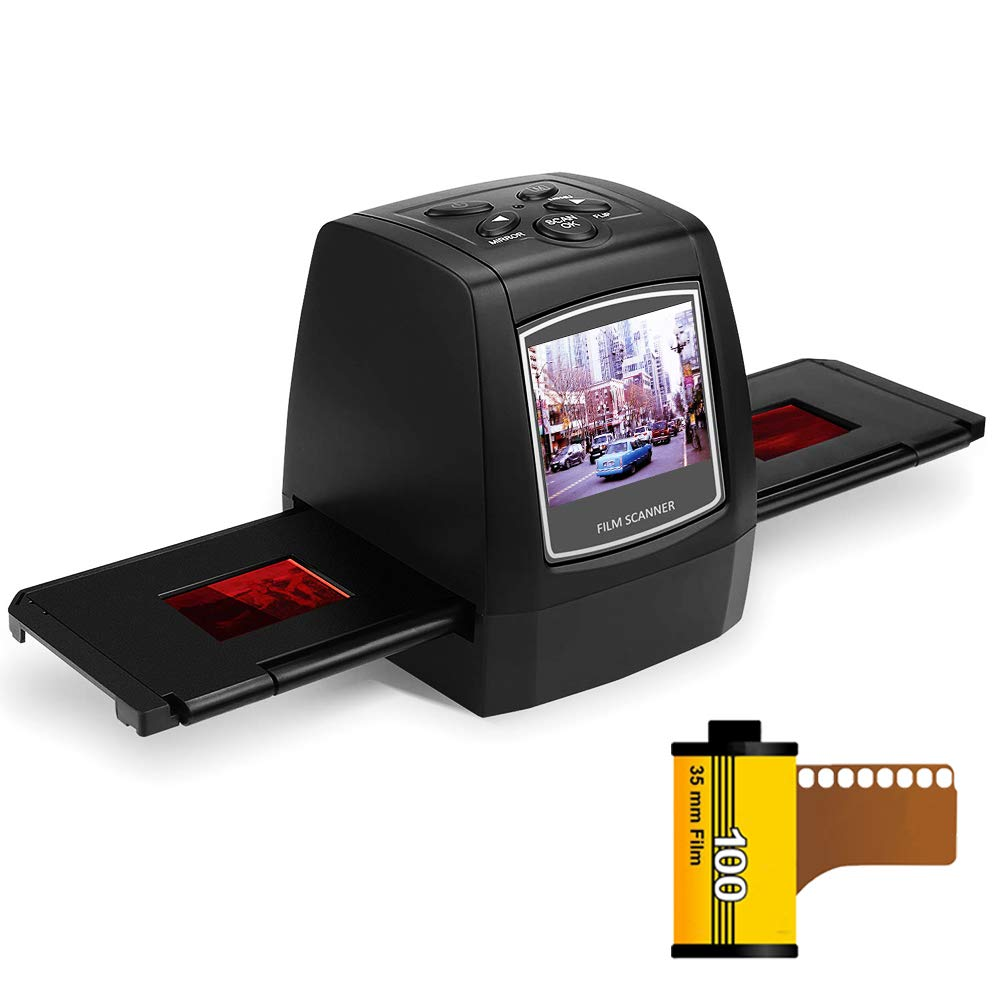 WEEKAN Digital Film Slides Scanner for 35mm 110 126 KPK Super 8 and 8mm Film Negatives & Slide Film Convert Slides to JPEG Photos Pocket Size Portable Slides Viewer 2.4'' Digital LCD Screen