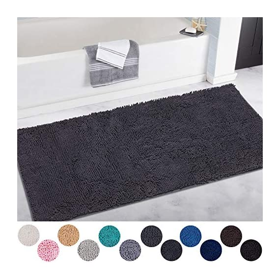DEARTOWN Non-Slip Shaggy Bathroom Rug,Soft Microfibers Chenille Bath Mat with Water Absorbent, Machine Washable(Dark Grey,31x59 Inches) - GREAT ABSORBENCY: The chenille area rug can absorb water quickly, it has strong water-absorbent ability because of plenty of microfiber shags can keep your room floors dry and clean. Regularly be exposed to the sun to keep the mat always dry and clean. NON-SLIP: The non-slip bathroom mat for floor is backed with TP Rubber to prevent shifting and skidding. Please place the toilet rug on DRY SMOOTH FLOOR only. Water under the bathroom rug can cause it to slip. Keep bottom of the bath rug dry. PAMPER YOUR FEET: This bath mat for bathroom is constructed with thousands of individual microfiber shags, sink your toes into the comfortable contentment of a bathroom floor mat from threshold. Soft pile that soothes tired feet and shields toes from the cold floor. - bathroom-linens, bathroom, bath-mats - 51Z8kleeM1L. SS570  -