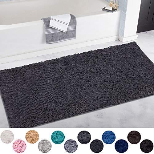 DEARTOWN 31x59 Inch Absorbent Chenille Microfiber Door Mat   Absorbent, Quick Dry, Anti-Skid TPR Bottom (31x59 Inches, Dark Gray) (Microfiber Pet Mat)