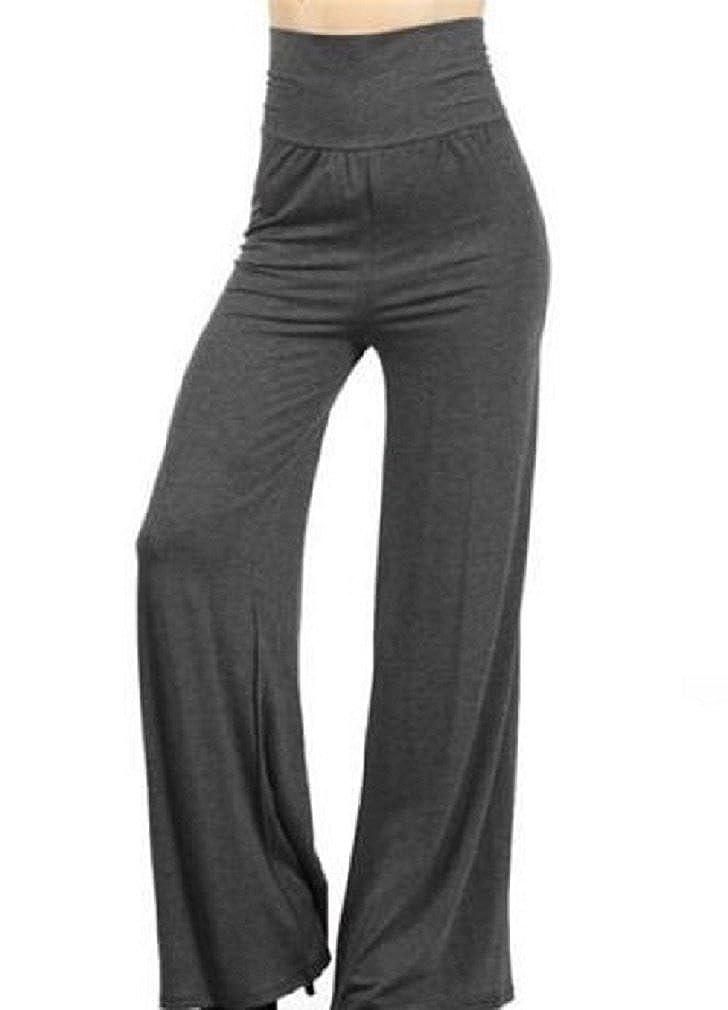 Vixen Clubwear Womens Plus Size Fold Over Stretch Palazzo Pants Gray (XL/1X)