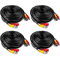 ANNKE (4) 50 Feet BNC Video Power Cablewith BNC to RCA Adaptor, Special design For CCTV Camera DVR Security System