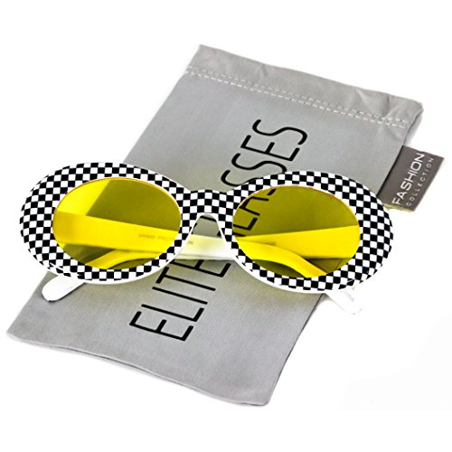 Elite NIRVANA Kurt Cobain Oval Bold Vintage Sunglasses For Women Men Eyewear - Checkered Frame Black Lens (Checkered - Yellow Lens, - Kurt Sunglasses Nirvana Cobain
