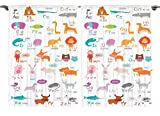 Ambesonne Kids Decor Collection, Zoo Animals with Letters of the Alphabet Educational Classroom Playroom Decors Reading Writing, Window Treatments for Kids Curtain 2 Panels Set, 108 X 63 Inches, Multi