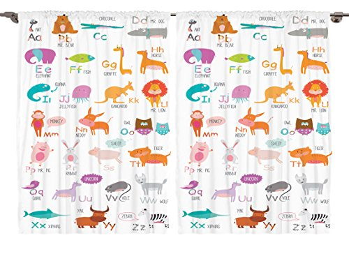 Ambesonne Kids Decor Collection, Zoo Animals with Letters of the Alphabet Educational Classroom Playroom Decors Reading Writing, Window Treatments for Kids Curtain 2 Panels Set, 108 X 63 Inches, Multi -