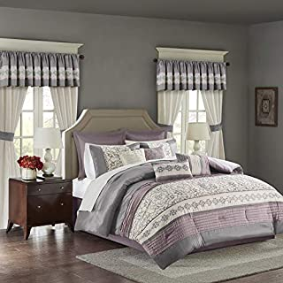 Madison Park Essentials Jelena Room in A Bag Faux Silk Comforter Classic Luxe All Season Down Alternative Bed Set with Bedskirt, Matching Curtains, Decorative Pillows, Queen, Purple 24 Piece