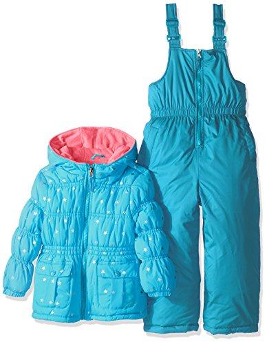 Pink Platinum Girls' Foil Star Printed Snowsuit