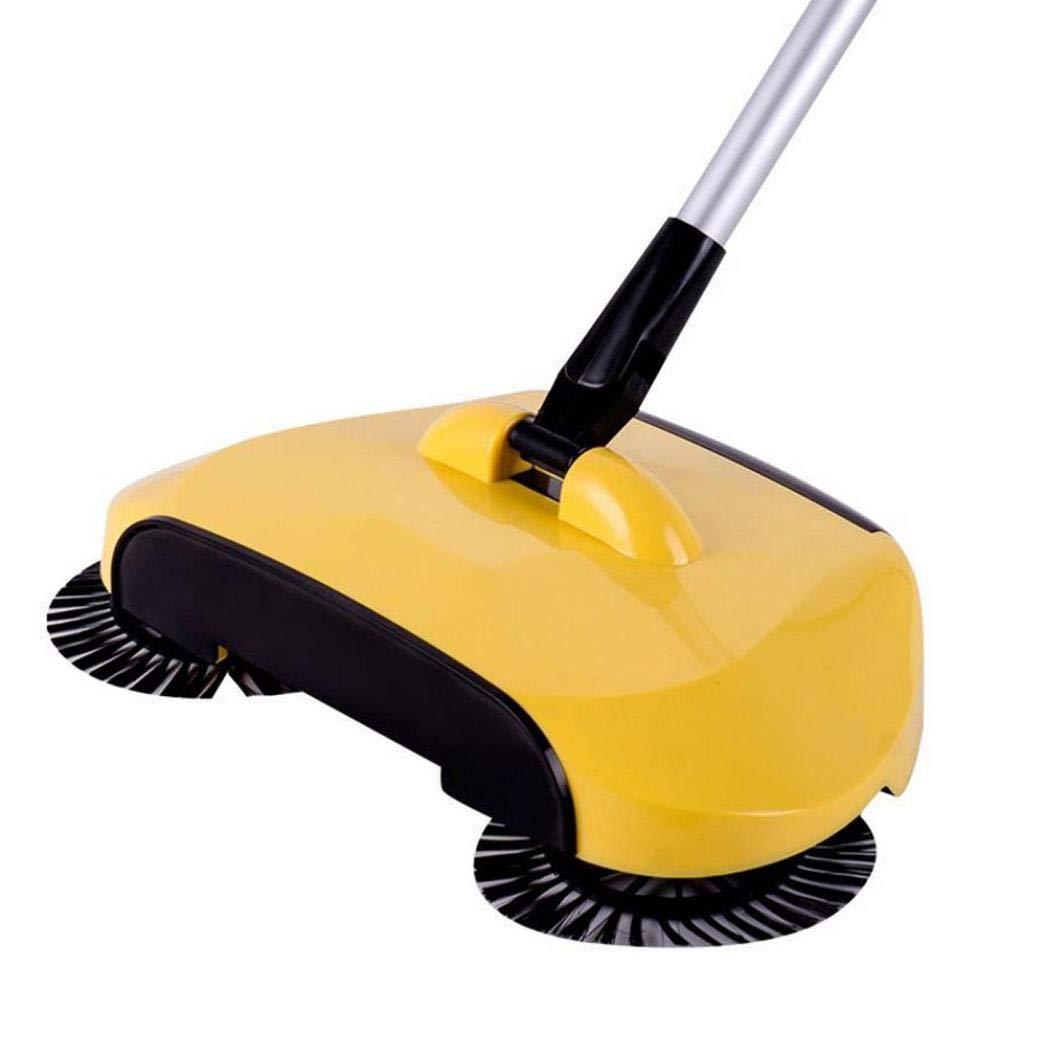 Blueseao Floor Dust Sweeper, 360 Rotary Home Use Magic Manual Telescopic (Yellow)