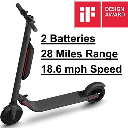 SEGWAY Ninebot ES4 Electric Scooter with 2 Batteries, 28 Miles Range, 18.6 mph Speed, LED Display, Lightweight and Foldable - Dark Grey (2019 Version)