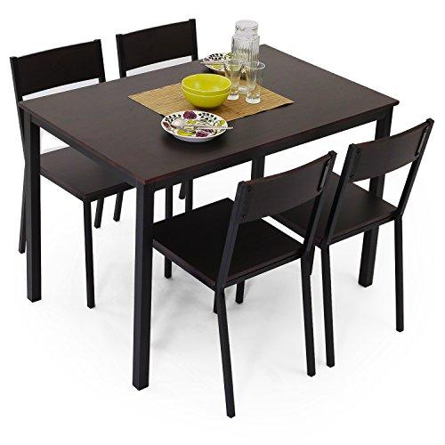 テーブルチェアダイニングテーブルダイニングセットコンパクト5点セット幅1104人掛けダークブラウン