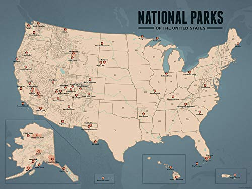 Best Maps Ever US National Parks Map 18x24 Poster (Tan & Slate Blue)
