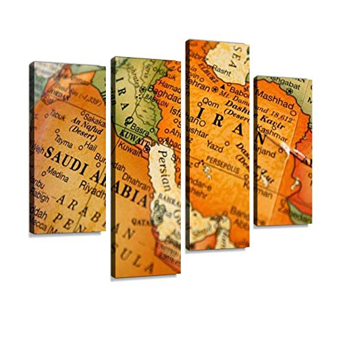 - A Photograph of a map of The Middle East Canvas Wall Art Painting Pictures Modern Artwork Framed Posters for Living Room Ready to Hang Home Decor 4PANEL