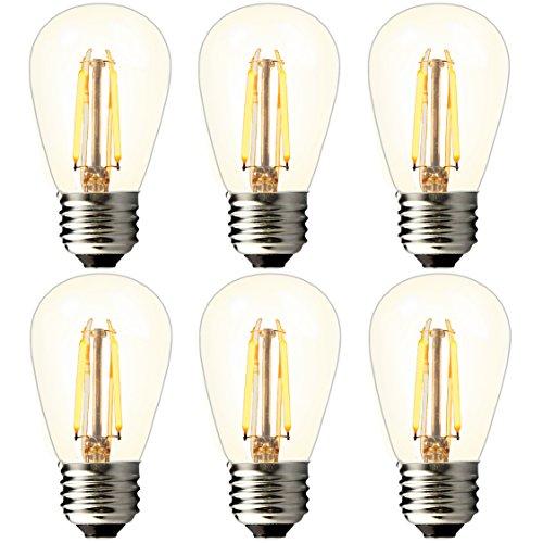 BRIMAX - (6Pack) - 2watt Bathroom LED Vanity Light Bulbs, Dimmable, 2700K Warm White, 20W Equivalent, E26 Medium Base, S14 2W Led Edison Light Bulbs for 6/12/18-light Sputnik Chandelier Bulbs