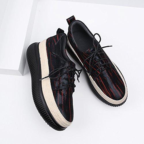 KJJDE Q1412 WSXY À Chaussures Tissage De Femme 38 Semelles Lacer Plateformes De Red Paille Coins X1rXSw