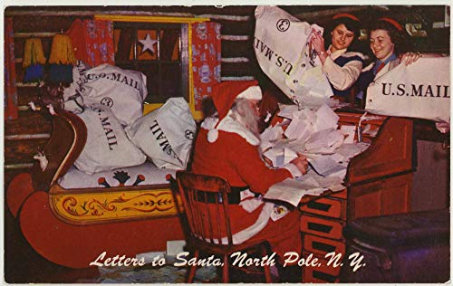 Mailbags - Santa and His Gnomes Reading Letters - Santa's Workshop North Pole - Wilmington New York - Vintage Chrome Amusement Park Postcard - #SC2690