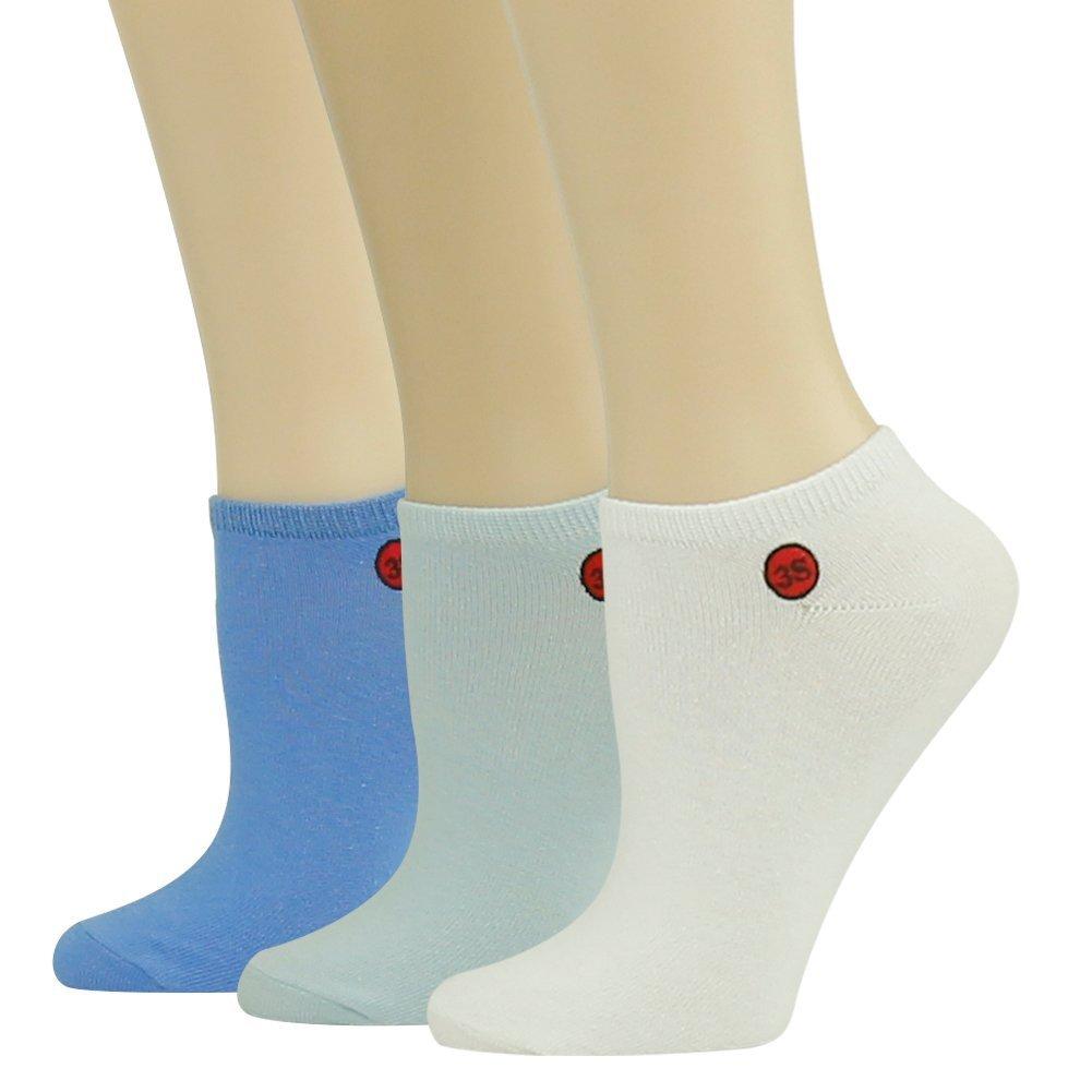 Women's Sport Ankle Socks 3street Ladies Low Cut Performance Running Tennis Socks white/blue/light blue 3 Pairs