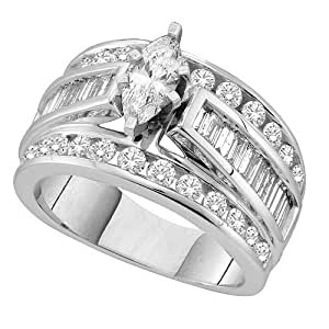 14K White Gold Prong Set Marquise Diamond Center with Side