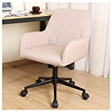 Zenith Stylish Office Chair linen Fabric Mid Back Executive Home Office Chair with Adjustable Height, Desk Chair Task Chair Swivel Chair (cream)