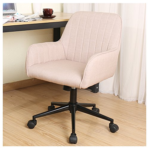 Series Mid Back Fabric Chair (Zenith Stylish Office Chair linen Fabric Mid Back Executive Home Office Chair with Adjustable Height, Desk Chair Task Chair Swivel Chair (cream))