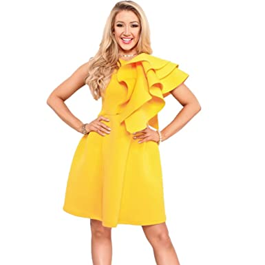 1e211af44235f Bodycon4U Women's Ruffle Sleeve Round Neck Bodycon Bandage Party Cocktail  Flare Dress Yellow S