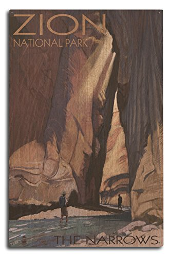 (Lantern Press Zion National Park, Utah - The Narrows (10x15 Wood Wall Sign, Wall Decor Ready to Hang))