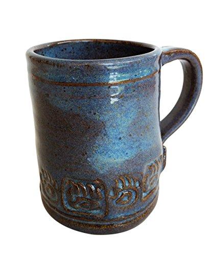 Paw Print Design Stoneware (Handmade Ceramic Mug,Bear Paw, Great Morning Coffee Mug Pottery)
