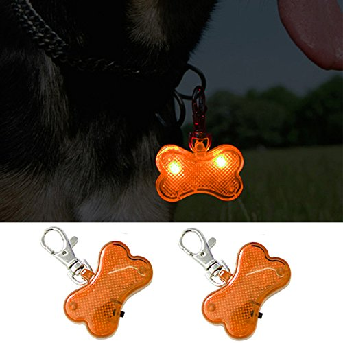 Higo LED Dog Tags, Glow in The Dark Dog Accessories Pet ID Tag, Light Up Clip-on Dog Pendant, for Night Dog Walking