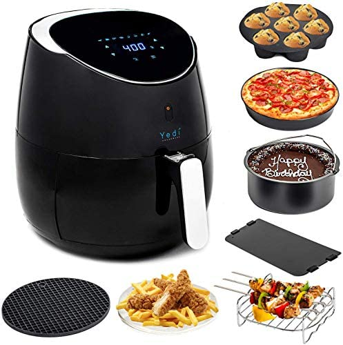 Yedi Houseware Total Package Air Fryer, 5.8 Quart, Black